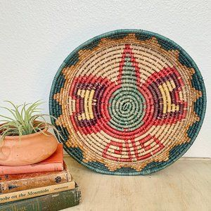 African Hand Coiled Wall Basket, Serving Basket